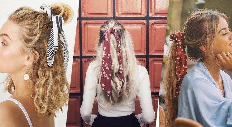 Imagens de três mulheres com penteados semi presos com lenços de estampas lindas